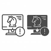 Trojan virus line and glyph icon. Horse on desktop vector illustration isolated on white. Computer virus outline style design, designed for web and app. Eps 10. poster