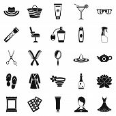 Toiletry icons set. Simple set of 25 toiletry icons for web isolated on white background poster