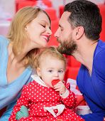 Perfect celebration. Family celebrate their love. Romantic couple in love and baby girl. Valentines day concept. Together on valentines day. Lovely family celebrating valentines day. Happy be parents poster