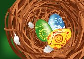 Easter colorful eggs with feathers in a nest. poster