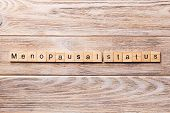 menopausal status word written on wood block. menopausal status text on wooden table for your desing, concept poster