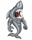 Detailed digitally painted image of a shark character mascot or logo. poster