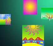 Abstract composition on multicolor background.Color graphic composition. poster