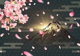 Fuji Mountain And Cherry Blossoms At Night