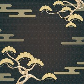 Japanese Gold Geometric Background With Pine Tree And Cloud Shape