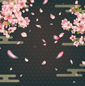 Cherry Blossoms At Night On Japanese Gold Geometric Background