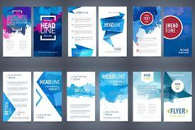 Vector Set Of Design Elements Template For Business Brochure, Leaflet, Poster Or Flyer On Blue Water