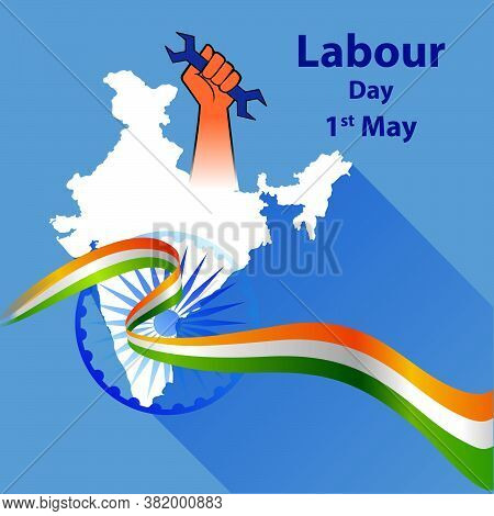 1st May Labour Day Greeting With Hands Of Labourers Representing Power. Vector Illustration Of Labou