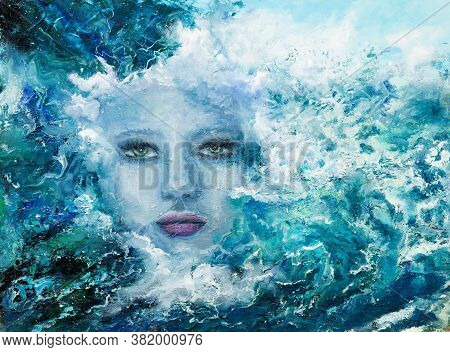 Original Abstract Oil Painting Showing Woman Face From Waves In  Ocean Or Sea On Canvas. Modern Impr