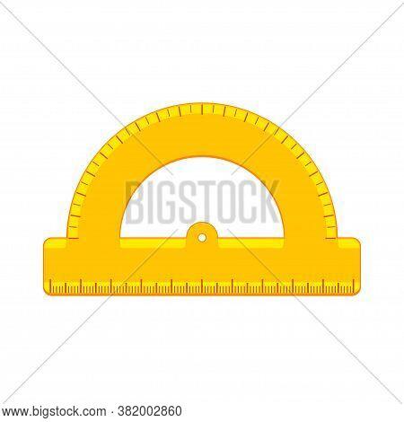 Cartoon Yellow Protractor Icon. School Supplies And Measuring Tools Collection. Flat Vector Illustra