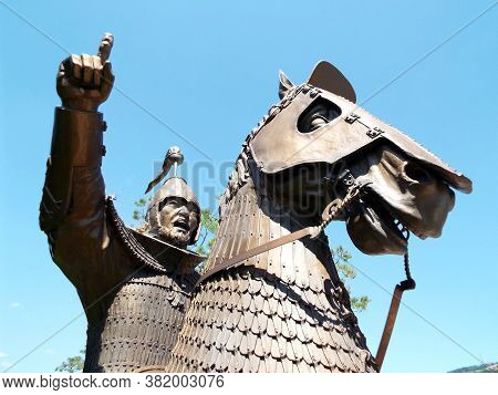 Gimhae, Busan, South Korea, September 1, 2017: Detail Of An Armored Cavalry Warrior From The Time Of