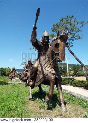 Gimhae, Busan, South Korea, September 1, 2017: Cataphract Of The Armored Cavalry From The Time Of Th
