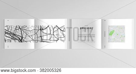 3d Realistic Vector Layout Of Cover Mockup Design Templates With Urban City Map Of Paris For Bifold