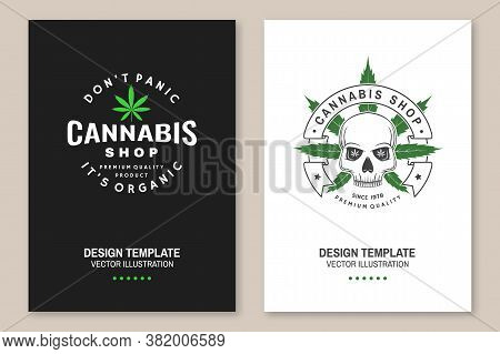 Medical Cannabis Shop Poster, Flyer, Template With Skeleton Skull. Vector. Vintage Typography Logo D