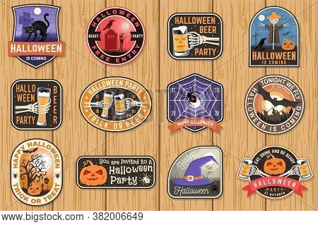 Halloween Patches. Halloween Retro Badge, Pin. Sticker For Logo, Print, Seal, Stamp, Patch. Scarecro