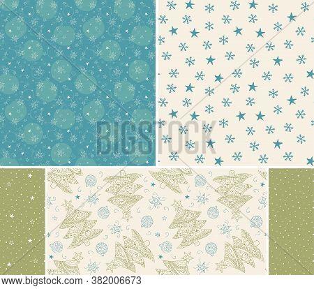 Christmas Tree, Balls, Stars Hand Drawn Seamless Patterns. Blue Green Pastel Colors. Set Of Patterns