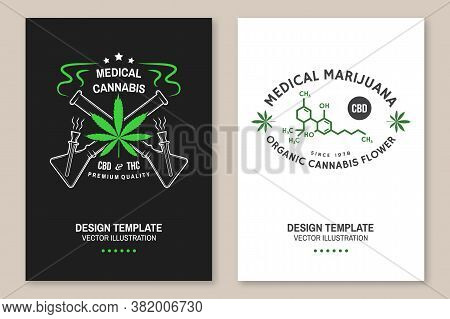 Medical Cannabis Poster, Flyer, Template With Cannabis Leaf, Glass Bong. Vector. Typography Logo Des