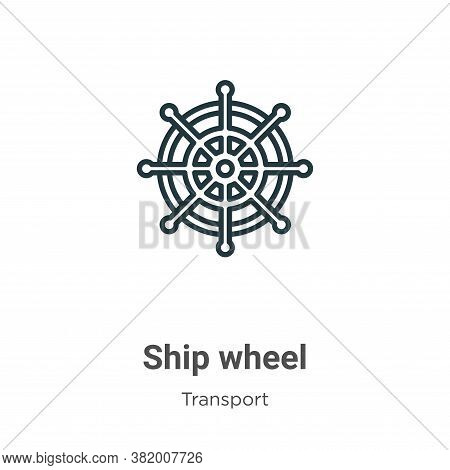 Ship wheel icon isolated on white background from transport collection. Ship wheel icon trendy and m