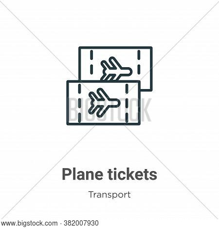 Plane tickets icon isolated on white background from transport collection. Plane tickets icon trendy