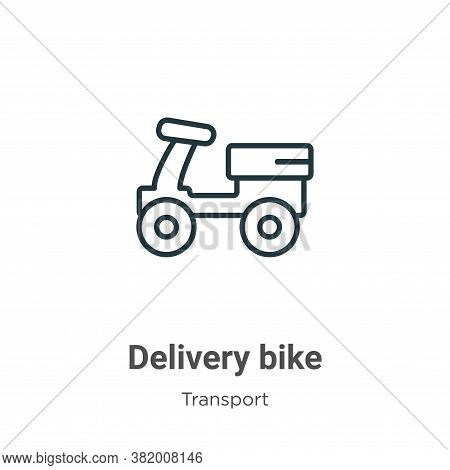 Delivery bike icon isolated on white background from transport collection. Delivery bike icon trendy