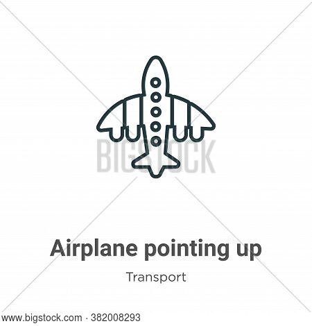 Airplane pointing up icon isolated on white background from transport collection. Airplane pointing
