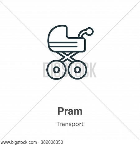 Pram icon isolated on white background from transport collection. Pram icon trendy and modern Pram s