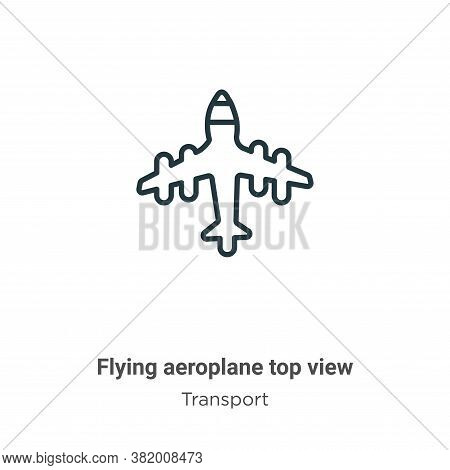 Flying aeroplane top view icon isolated on white background from transport collection. Flying aeropl