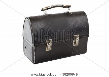 Vintage Metal Lunch Box Painted Black