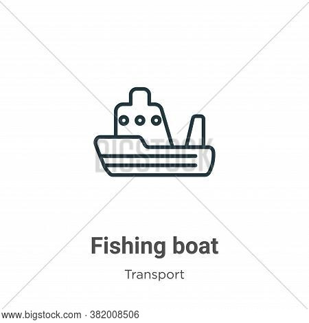 Fishing boat icon isolated on white background from transport collection. Fishing boat icon trendy a