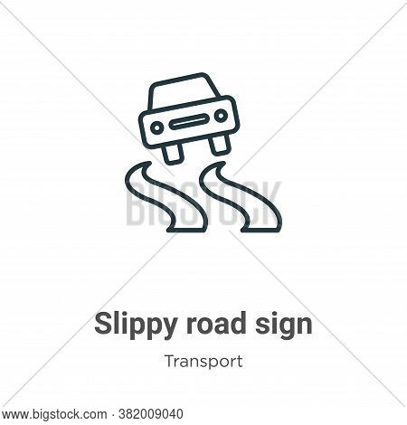 Slippy road sign icon isolated on white background from transport collection. Slippy road sign icon