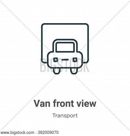 Van front view icon isolated on white background from transport collection. Van front view icon tren