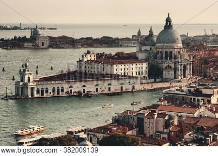Venice Church Santa Maria della Salute and canal aerial view in Italy.