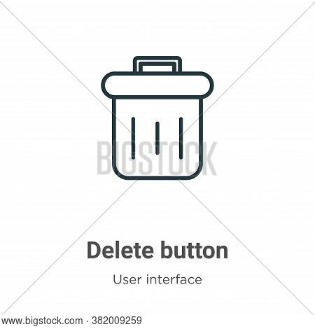 Delete button icon isolated on white background from user interface collection. Delete button icon t