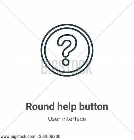 Round help button icon isolated on white background from user interface collection. Round help butto