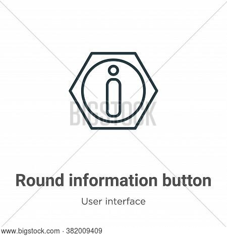 Round information button icon isolated on white background from user interface collection. Round inf