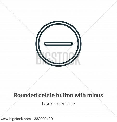 Rounded delete button with minus icon isolated on white background from user interface collection. R