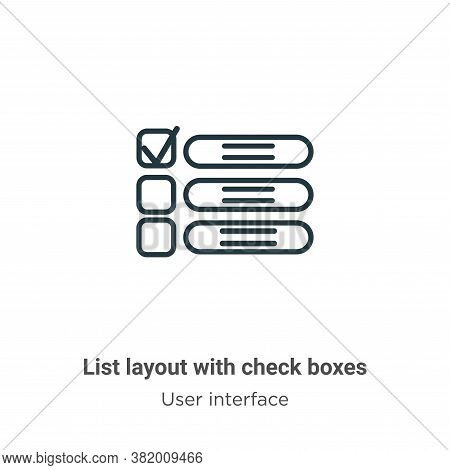 List layout with check boxes icon isolated on white background from user interface collection. List
