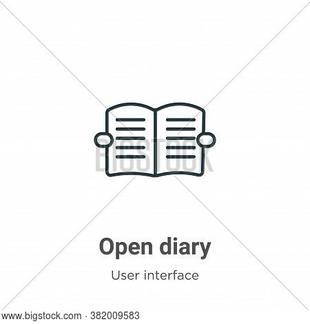 Open diary icon isolated on white background from user interface collection. Open diary icon trendy