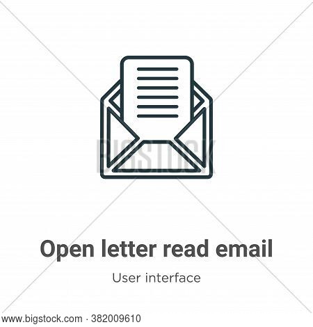Open letter read email icon isolated on white background from user interface collection. Open letter