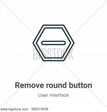 Remove round button icon isolated on white background from user interface collection. Remove round b