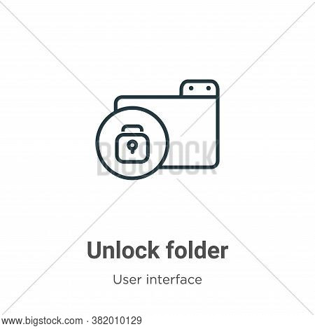 Unlock folder icon isolated on white background from user interface collection. Unlock folder icon t