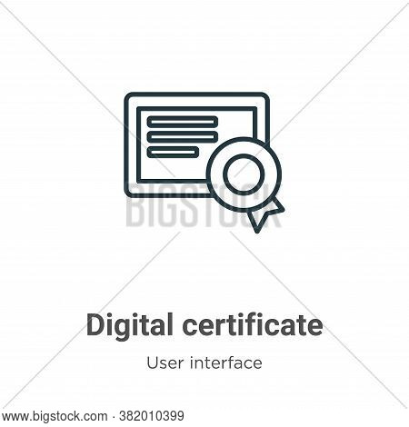 Digital certificate icon isolated on white background from user interface collection. Digital certif