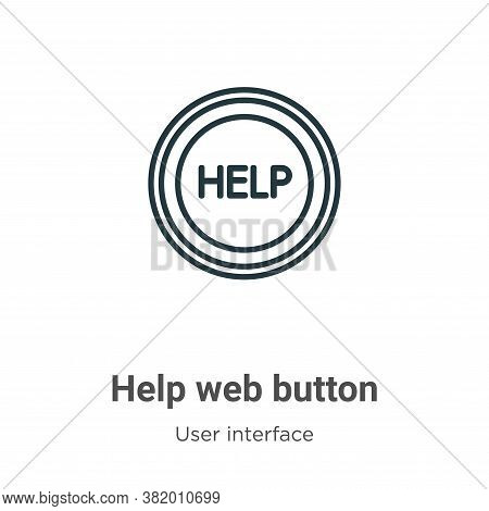 Help web button icon isolated on white background from user interface collection. Help web button ic