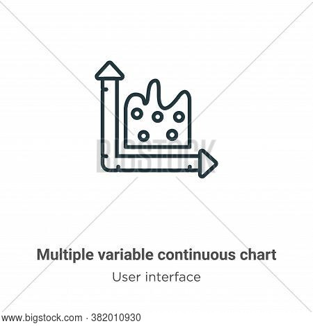 Multiple variable continuous chart icon isolated on white background from user interface collection.