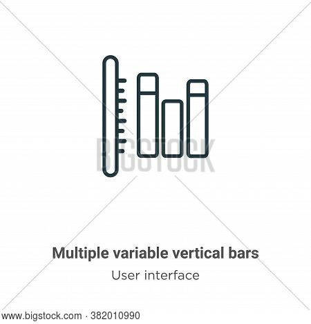 Multiple variable vertical bars icon isolated on white background from user interface collection. Mu