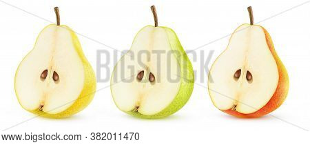Isolated Half Of Pear Fruit. Yellow, Green And Red Pear Halves In A Row Isolated On White Background