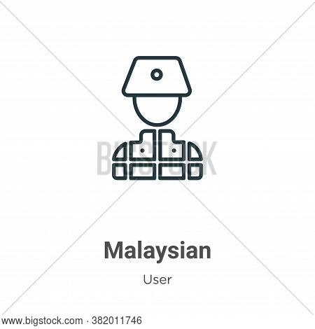 Malaysian icon isolated on white background from user collection. Malaysian icon trendy and modern M