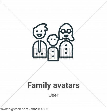 Family avatars icon isolated on white background from user collection. Family avatars icon trendy an