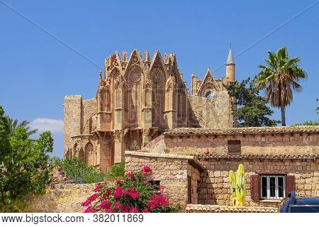 Cathedral Of St. Nicholas And Now The Lala Mustafa Pasha Mosque In Famagusta North Cyprus. Built In