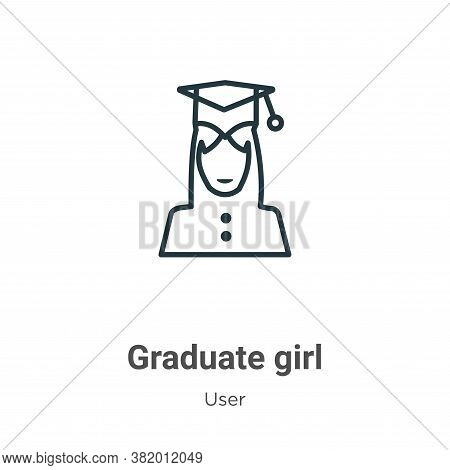 Graduate girl icon isolated on white background from user collection. Graduate girl icon trendy and